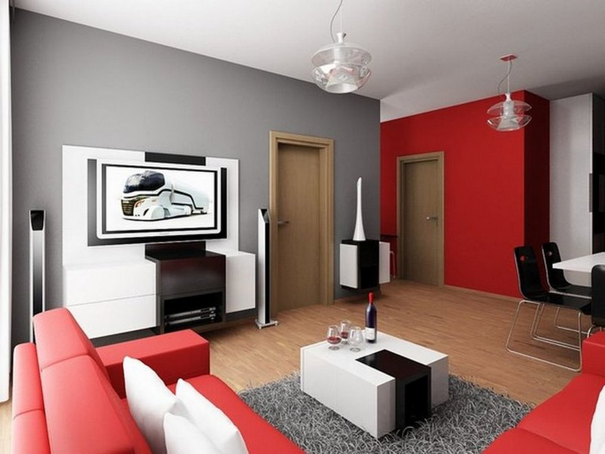 dynamic colour combinations simple living room red grey and white - Simple Living Room