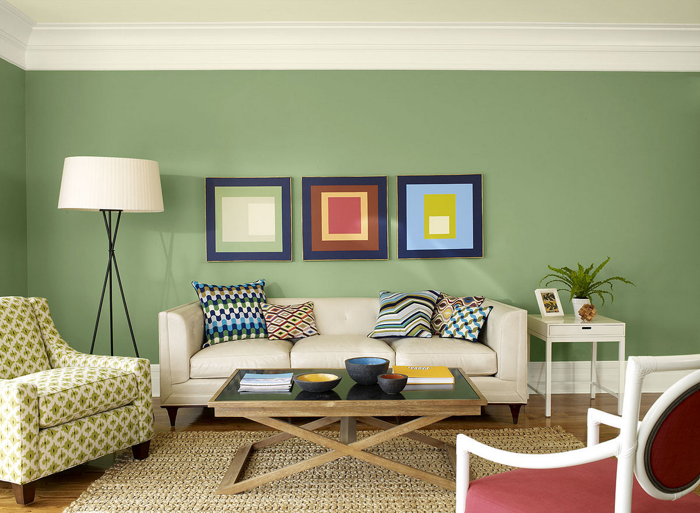 Green Living Room Green Wall White Ceiling Framed Pictures Down Light White  Side Table Red Chair Part 93