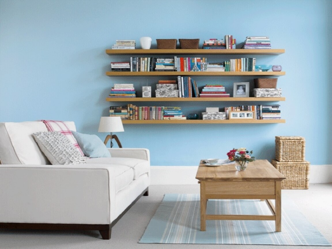Home Living Room Storage Ideas Simple Blue Stained Wall Design With Wooden Rack Ornaments Books