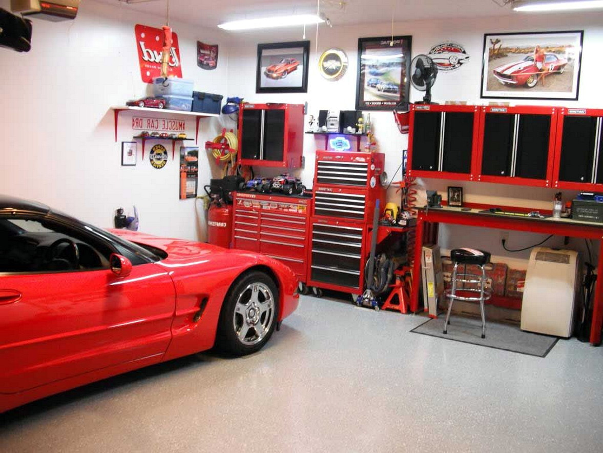Cool Indoor Garage Design Ideas With Red Furniture Of ...