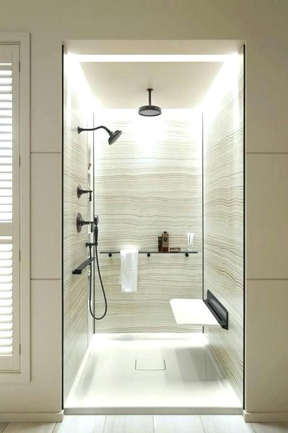 Walk In Shower With Seat And Lighting Ideas On A Budget